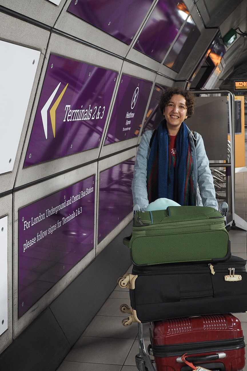 Luggage trolley at Heathrow Express train station