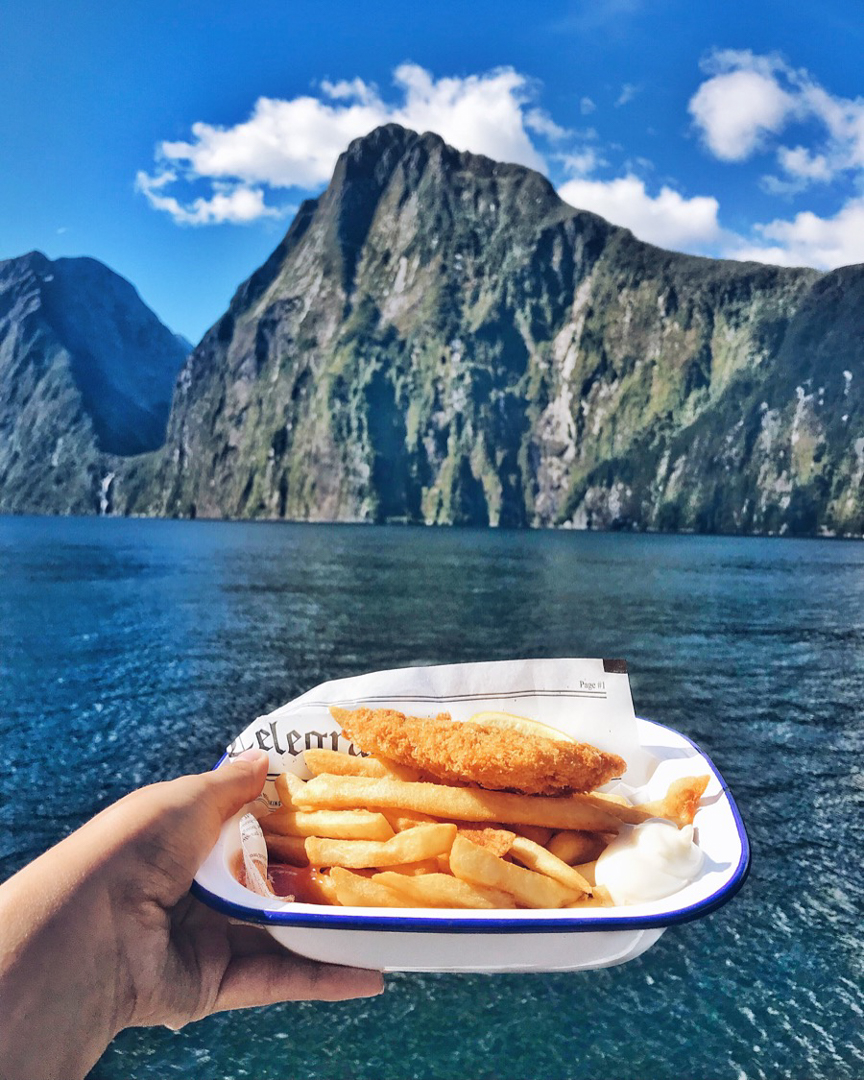 Fish and chips on ferry in Milford Sound