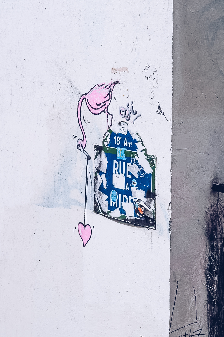 Flamingo street art in Paris