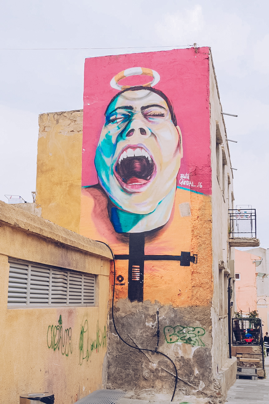 Laughing woman street art