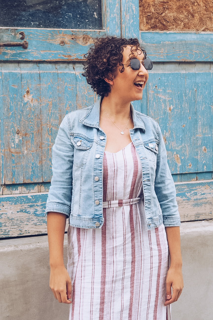 summer dress and denim jacket