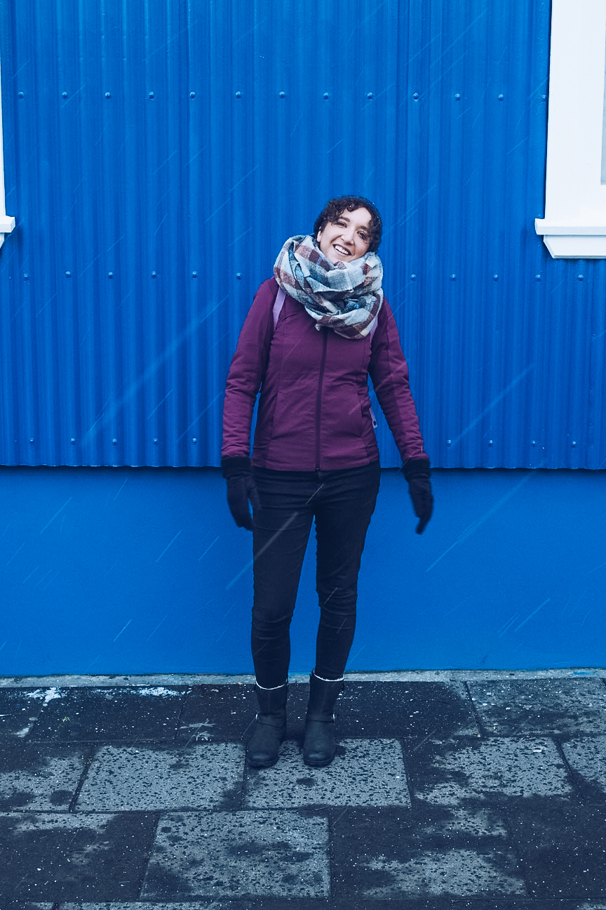 Wearing winter clothes in snow in Iceland