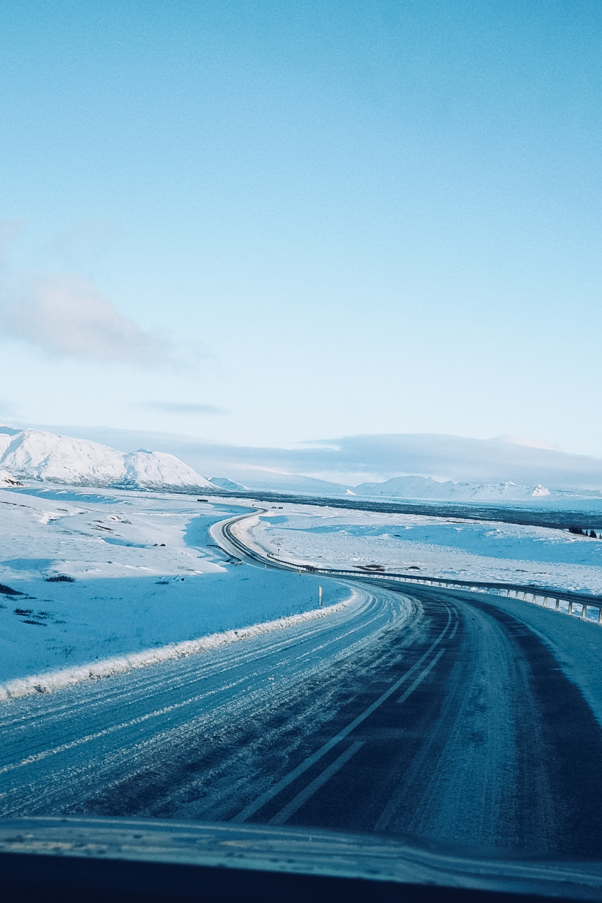 Snowy roads in Iceland