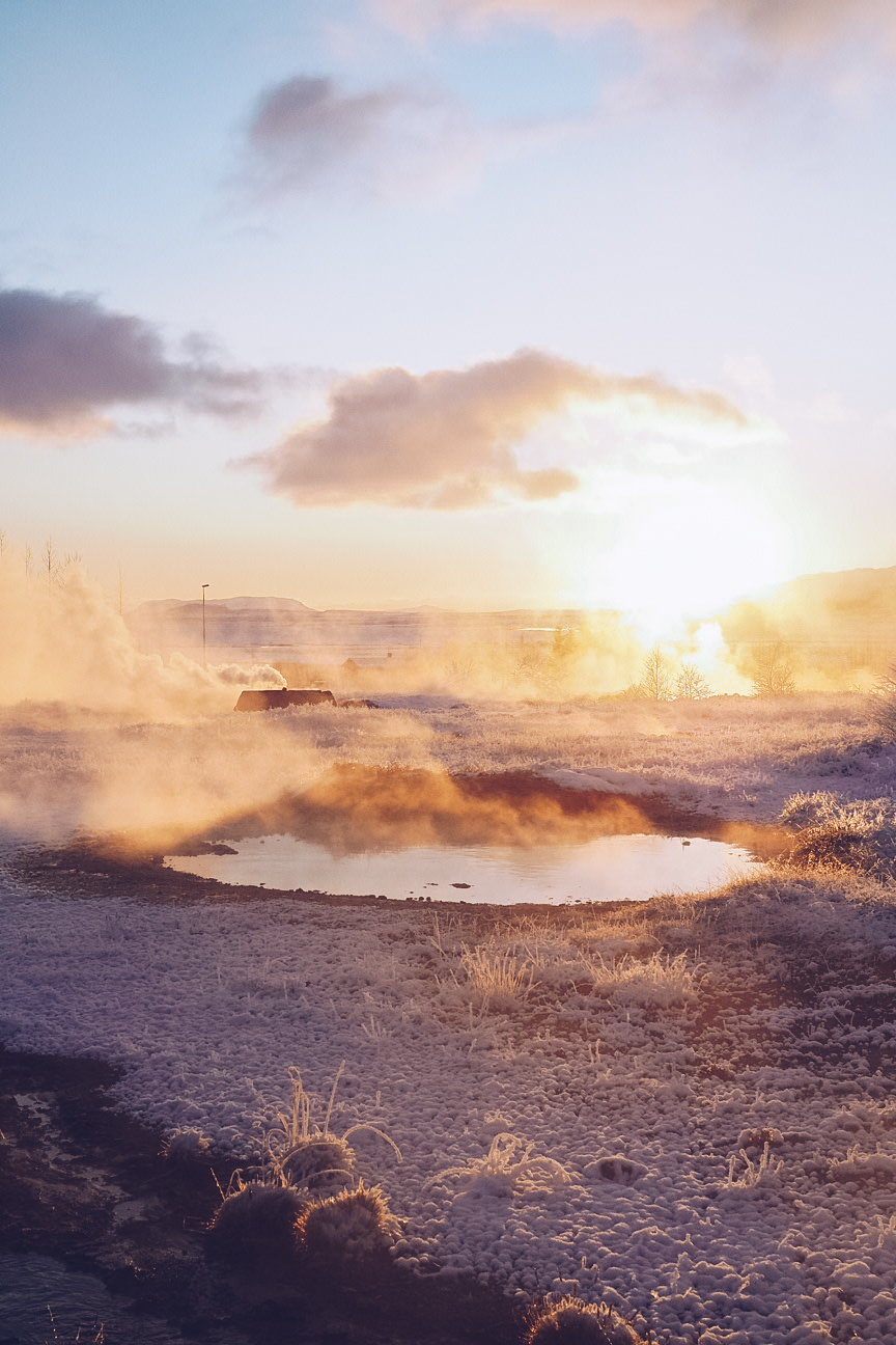 Geothermal pools at Geysir during sunset