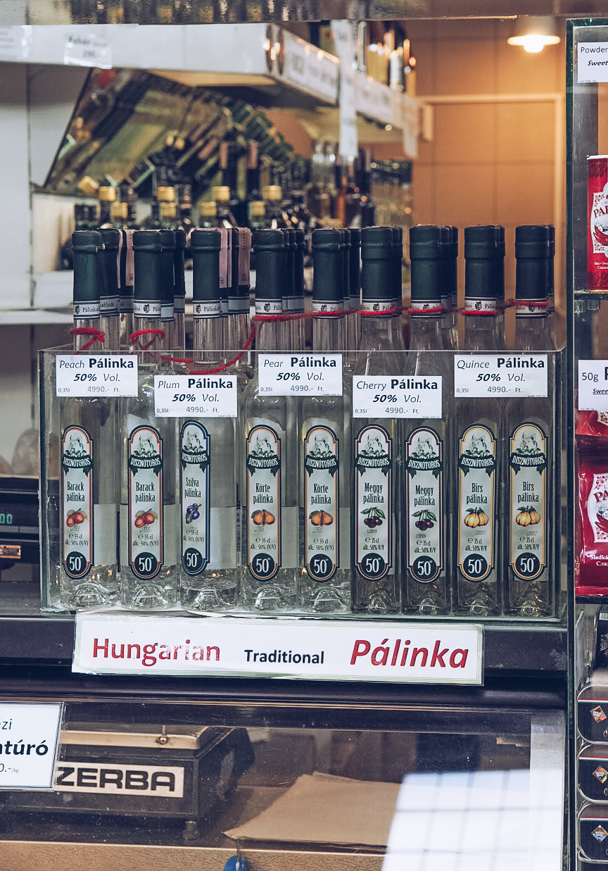 bottles of different flavour palinka