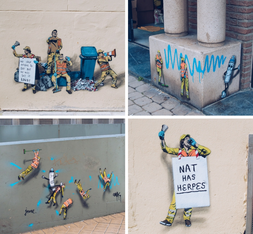 jaune intervention street art pieces in ostend