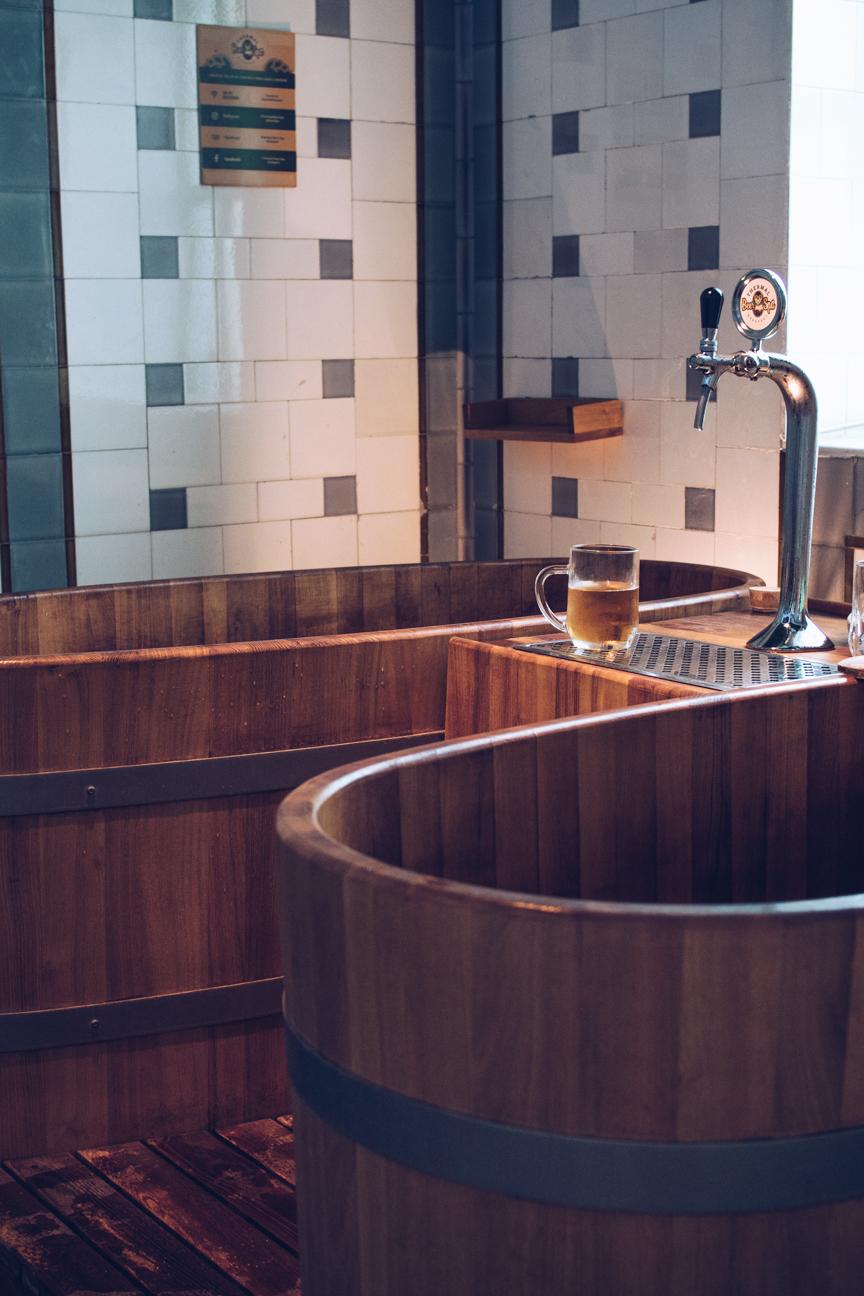 Inside beer spa, Budapest