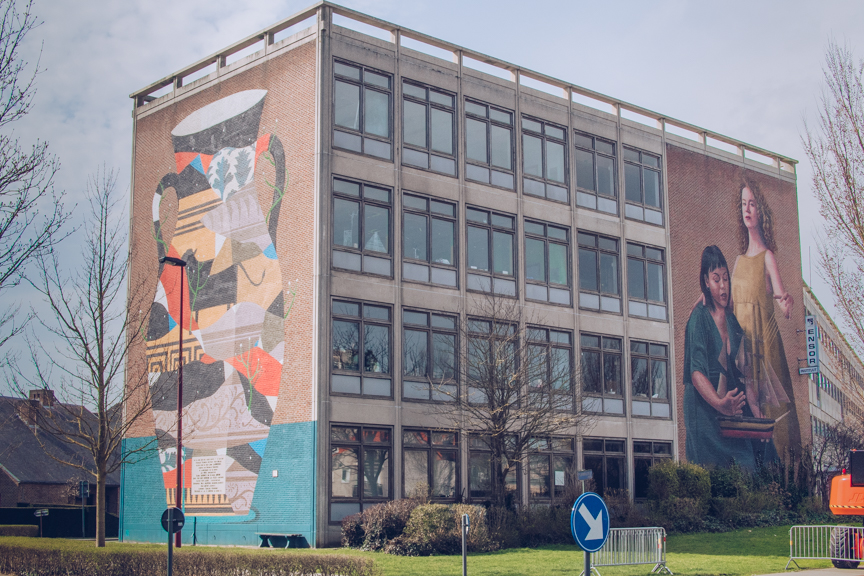 Ostend high school with street art on it