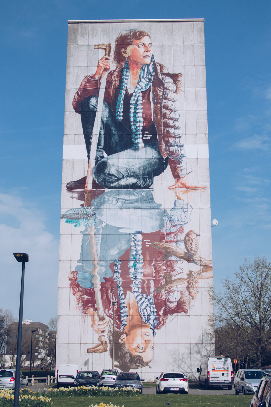 giant mural of a woman