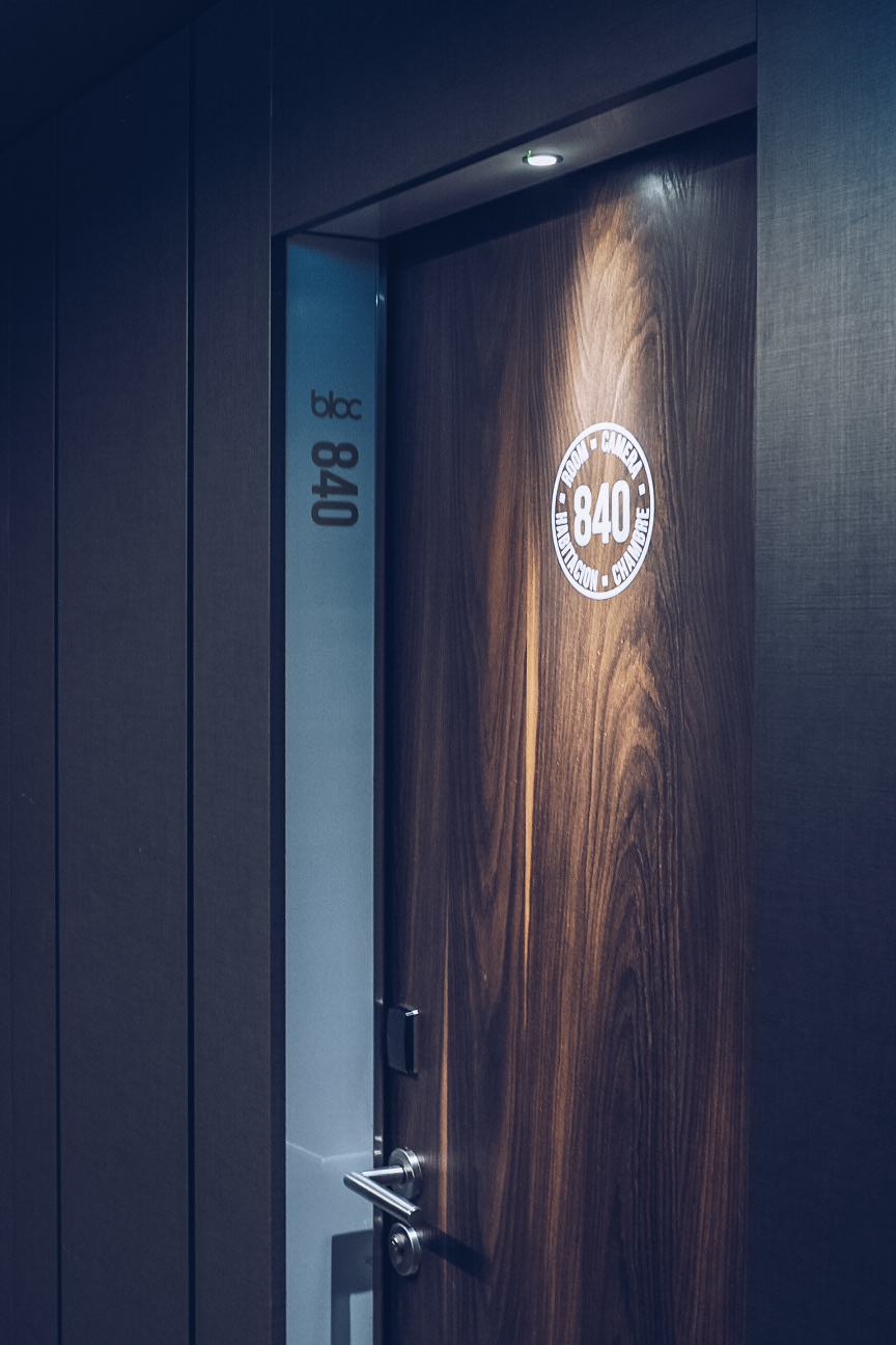 bloc hotel room door