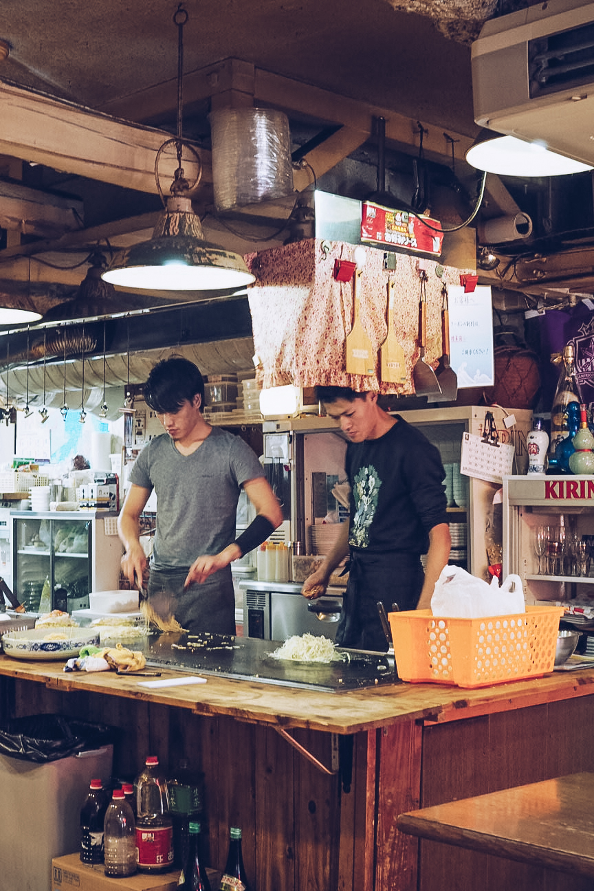 Cooking okonomiyaki in Hiroshima