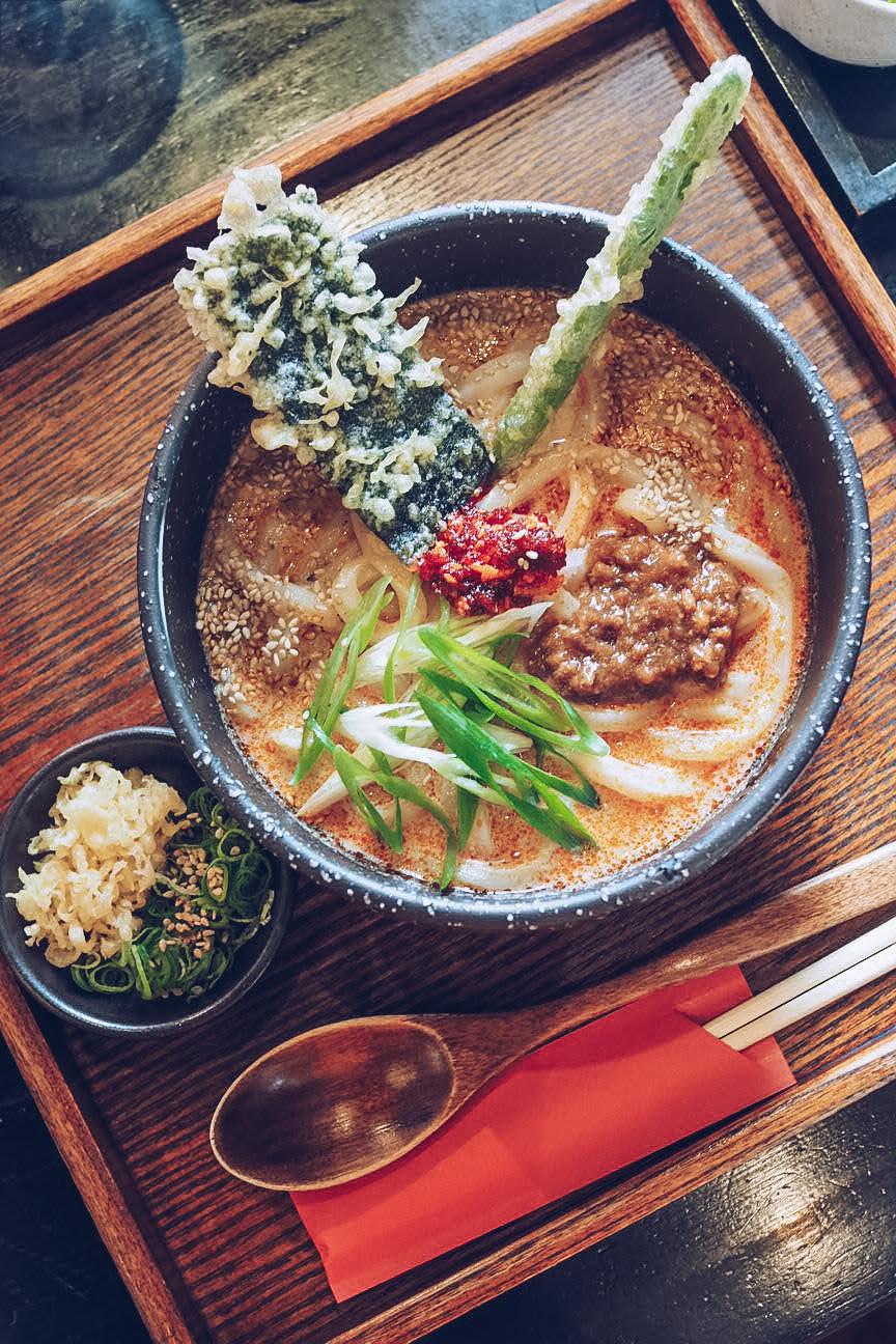 tan tan udon noodles with tempura vegetables