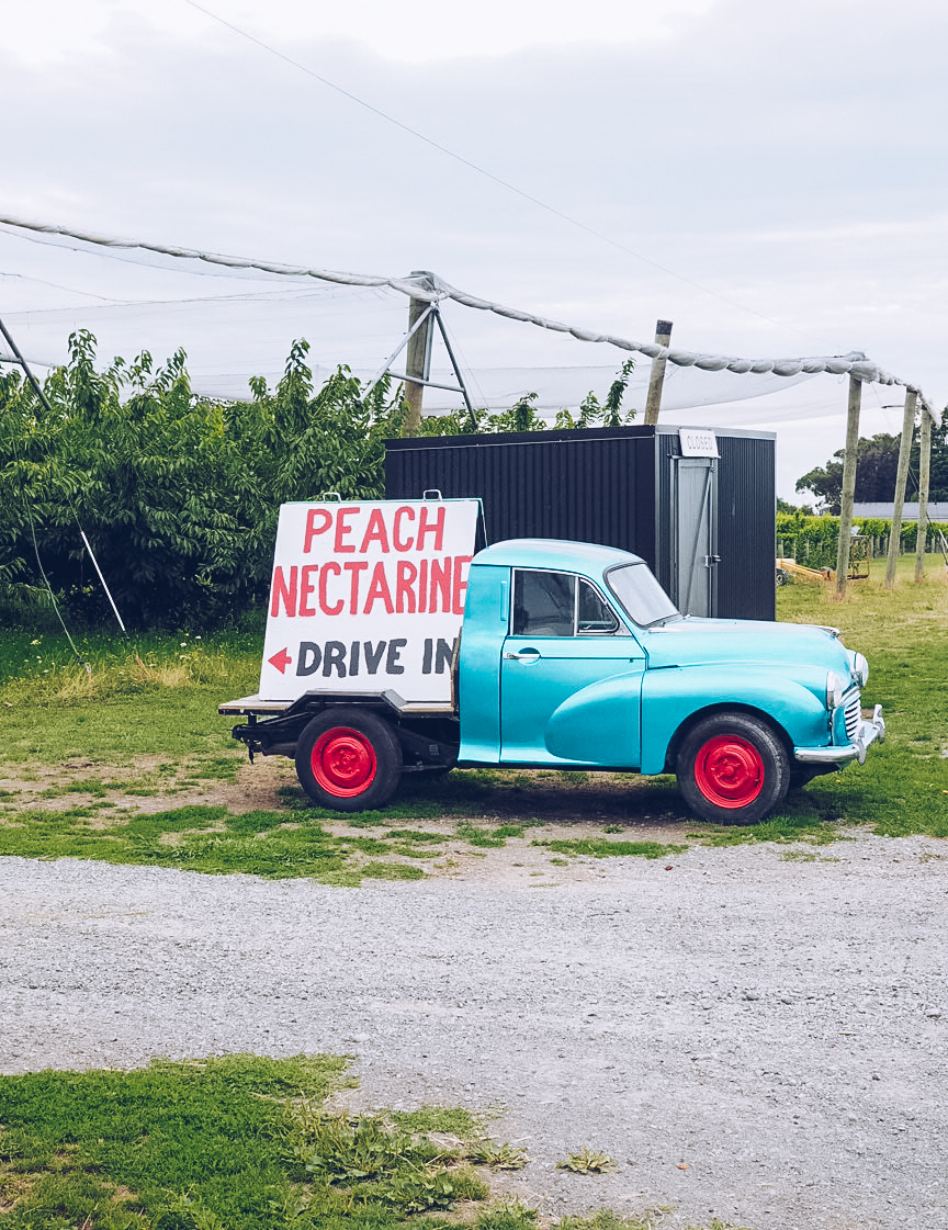 pick up truck selling peaches and nectarines