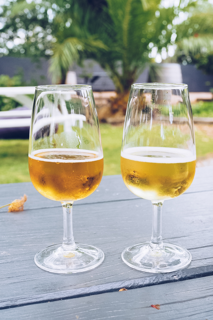 two glasses of moa beer