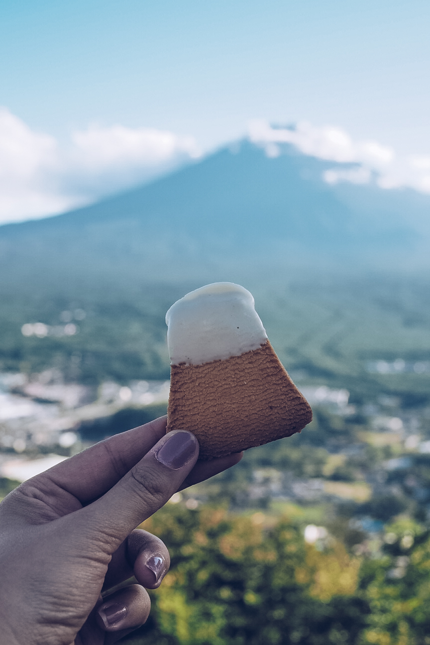 fujiyama cookie in front of mount fuji