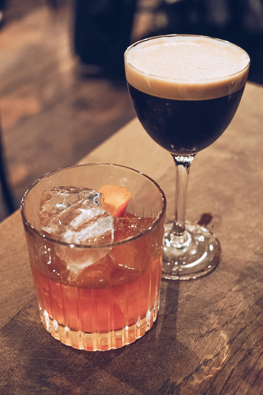 old fashioned and coffee cocktail