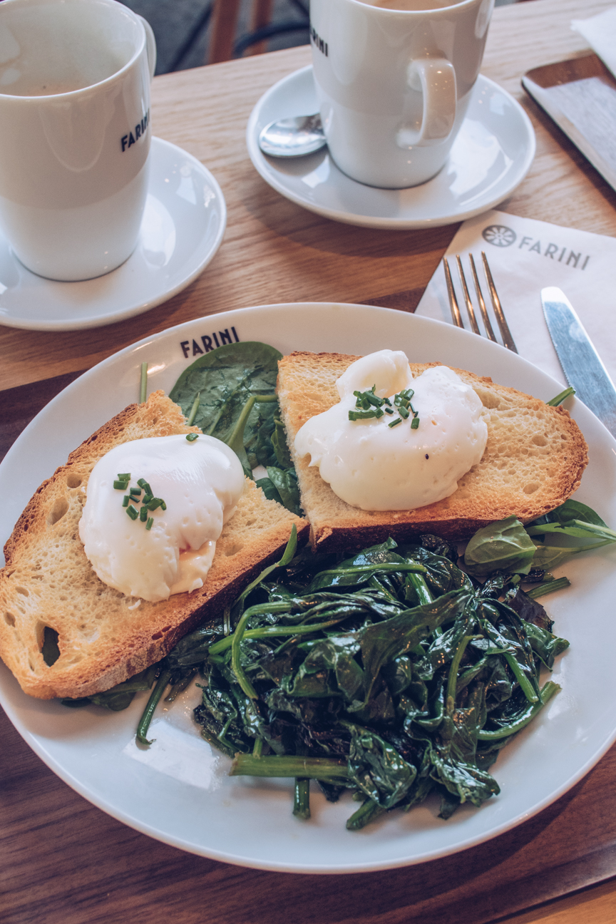 poached eggs on toast with spinach