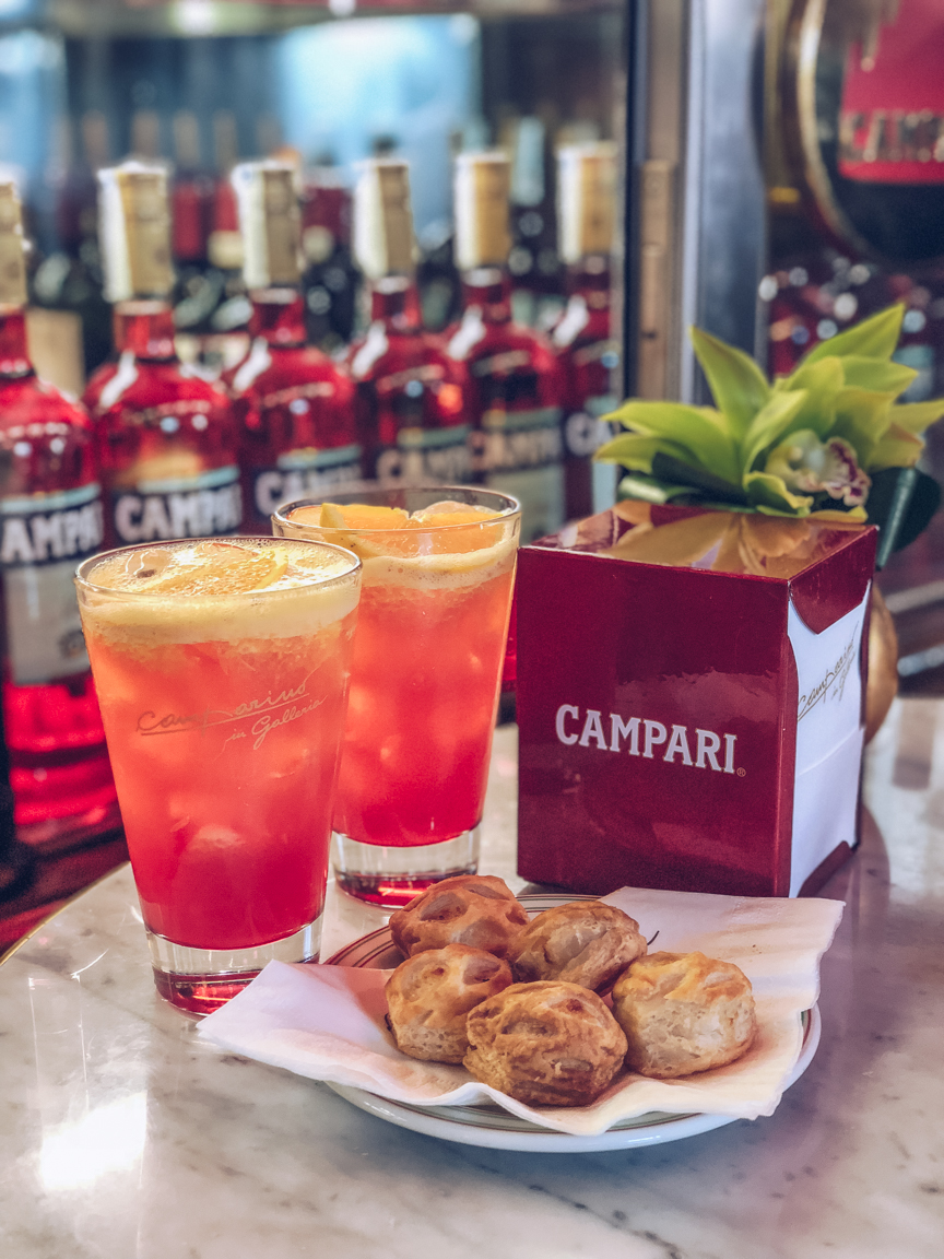 campari cocktails at camparin bar in milan