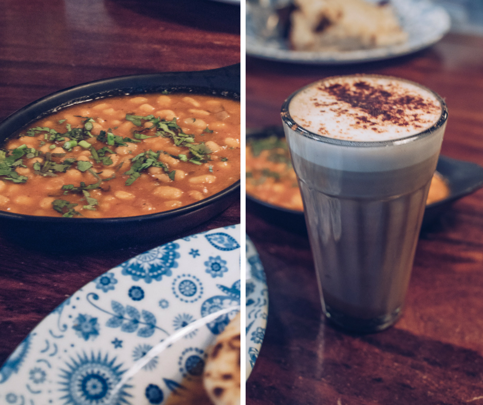 masala beans and chocolate chai