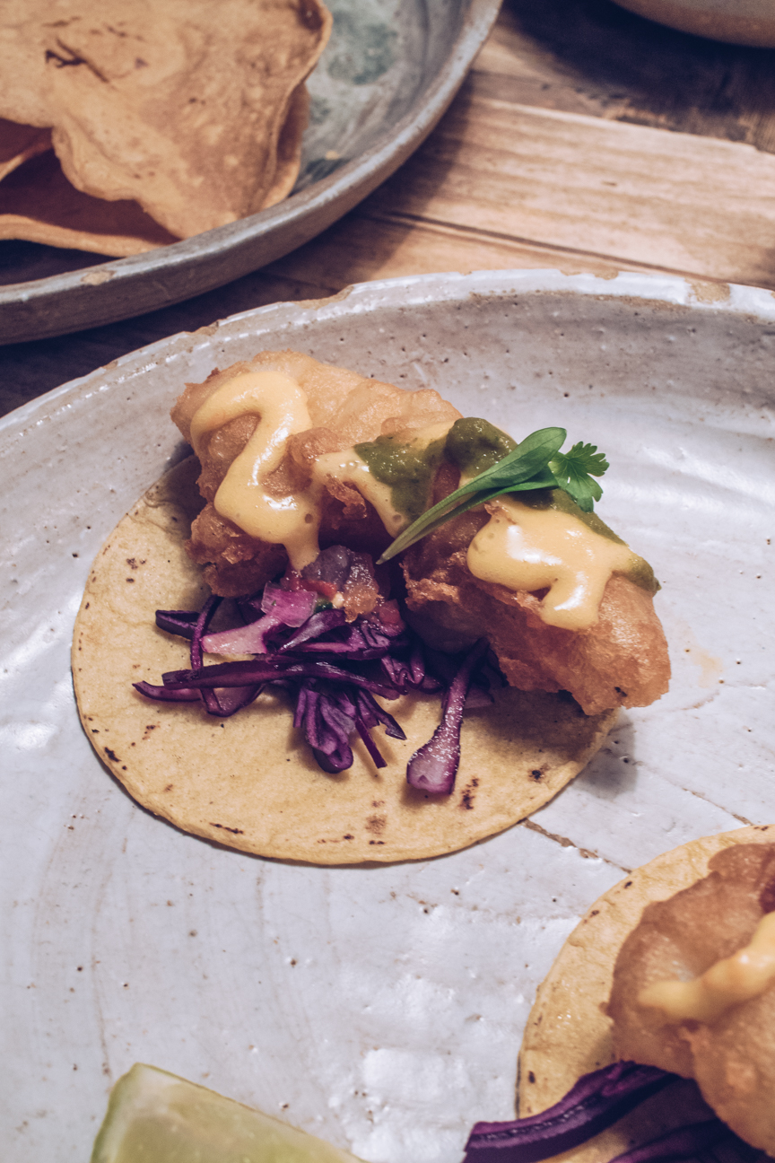masa chicken tacos with habenero mayonnaise and salsa