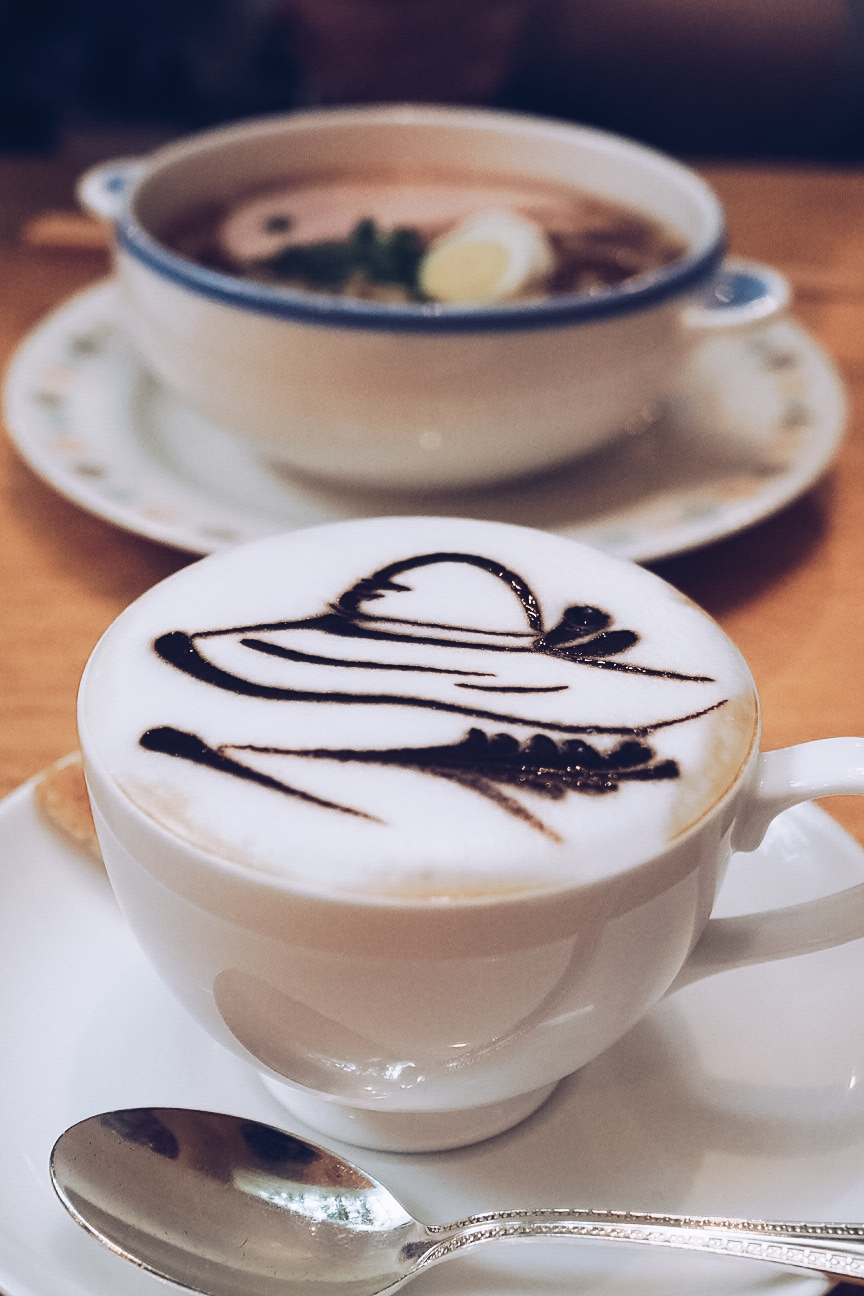 Straw hat coffee latte art at the straw hat cafe at studio ghibli museum