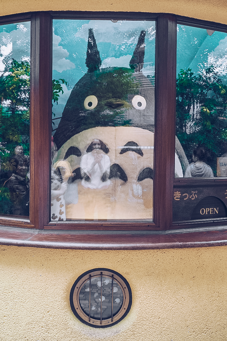 Giant Totoro plushie in entrance of Studio Ghibli museum