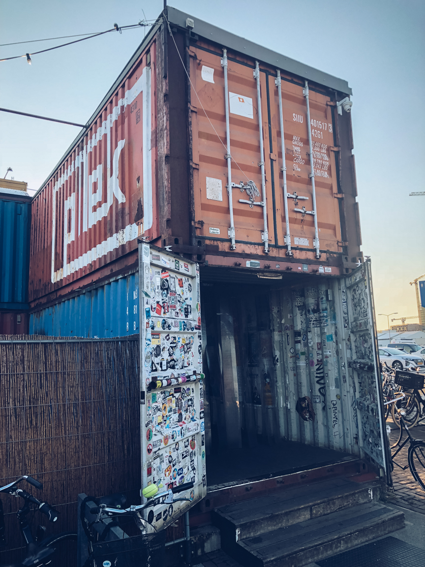 shipping container entrance to pllek in amsterdam