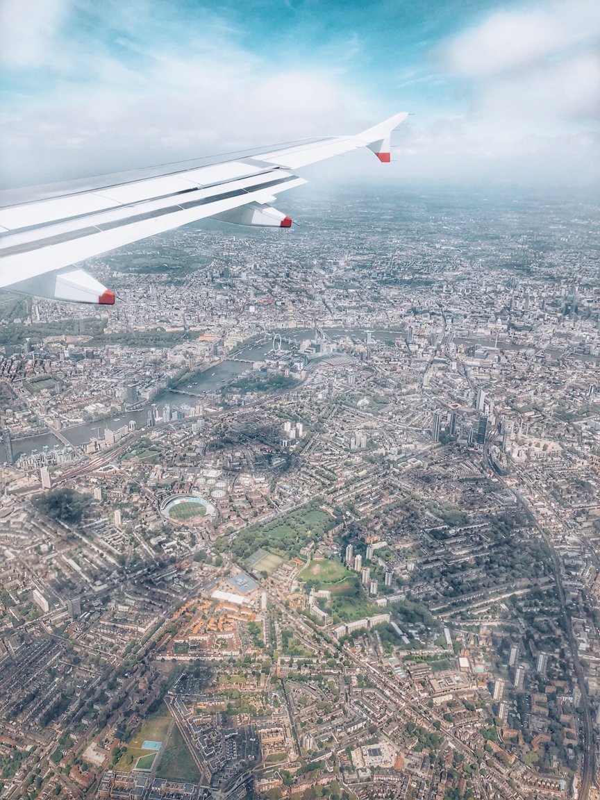 view of london from airplane