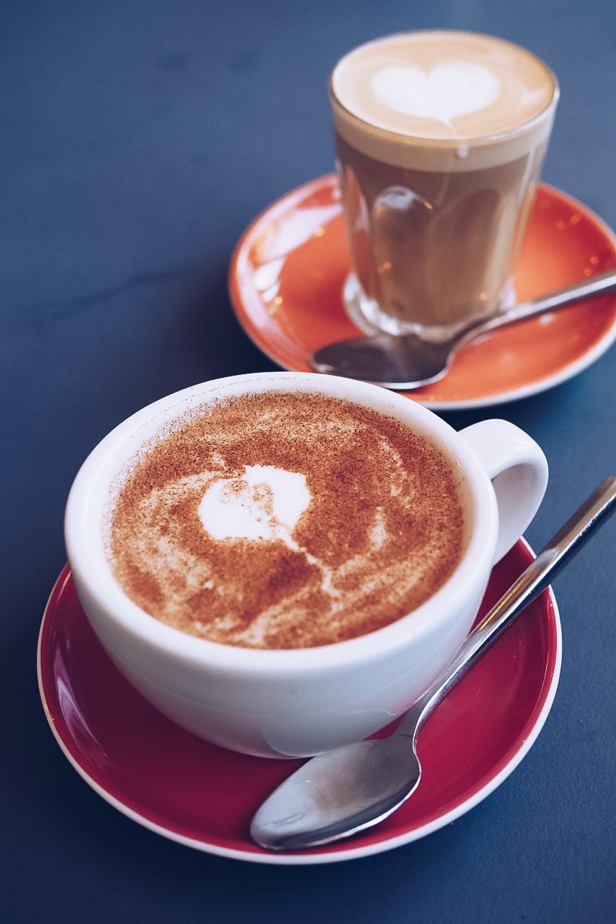 chai latte and flat white