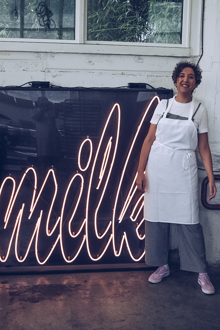 milk bar logo neon sign