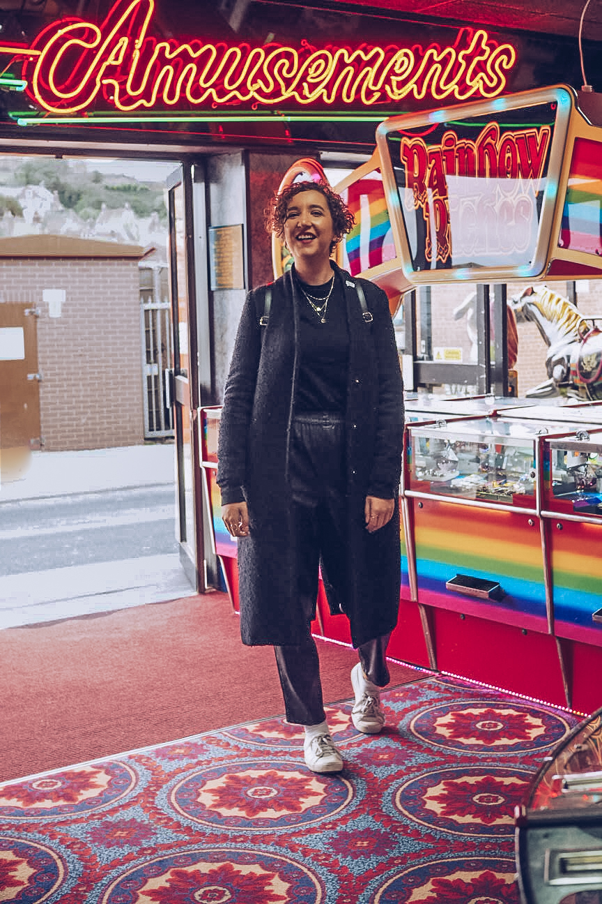 woman in amusement arcade