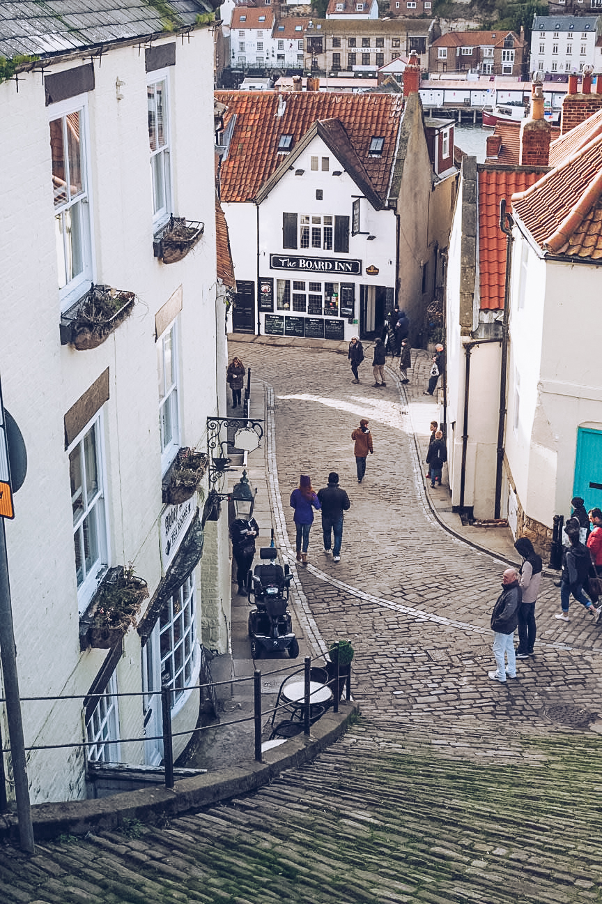 cobbled street at the bottom of 199 steps, whitby