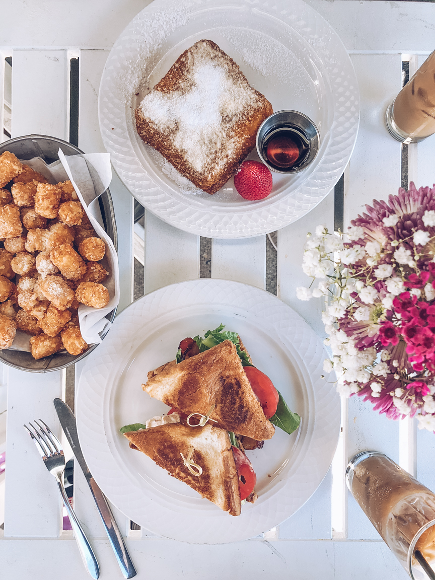 Lemon ricotta french toast, blt with lobster and truffle tater tots