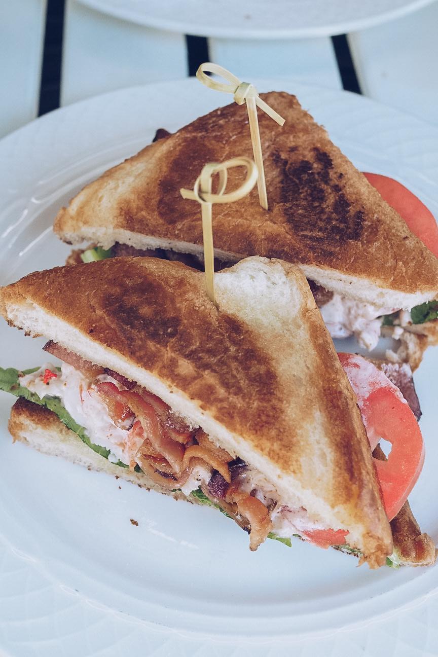 bacon lettuce lobster tomato sandwich