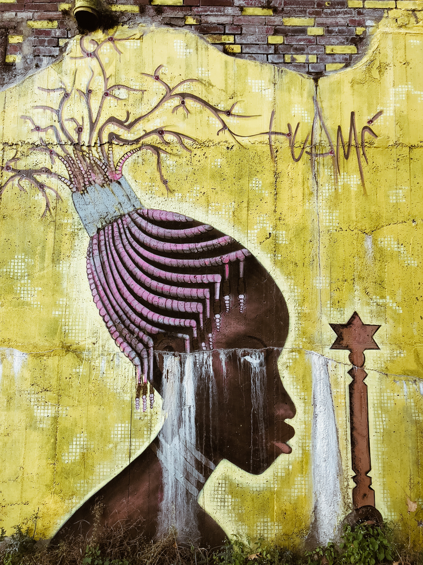 street art mural of an african tribal woman with pink braided hair
