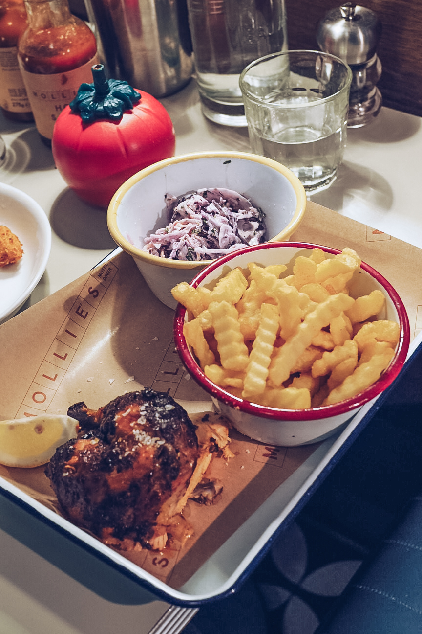 bbq chicken, crinkle cut fries and coleslaw