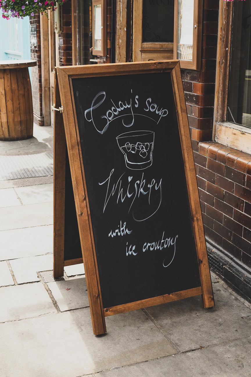 today's soup is whiskey sign