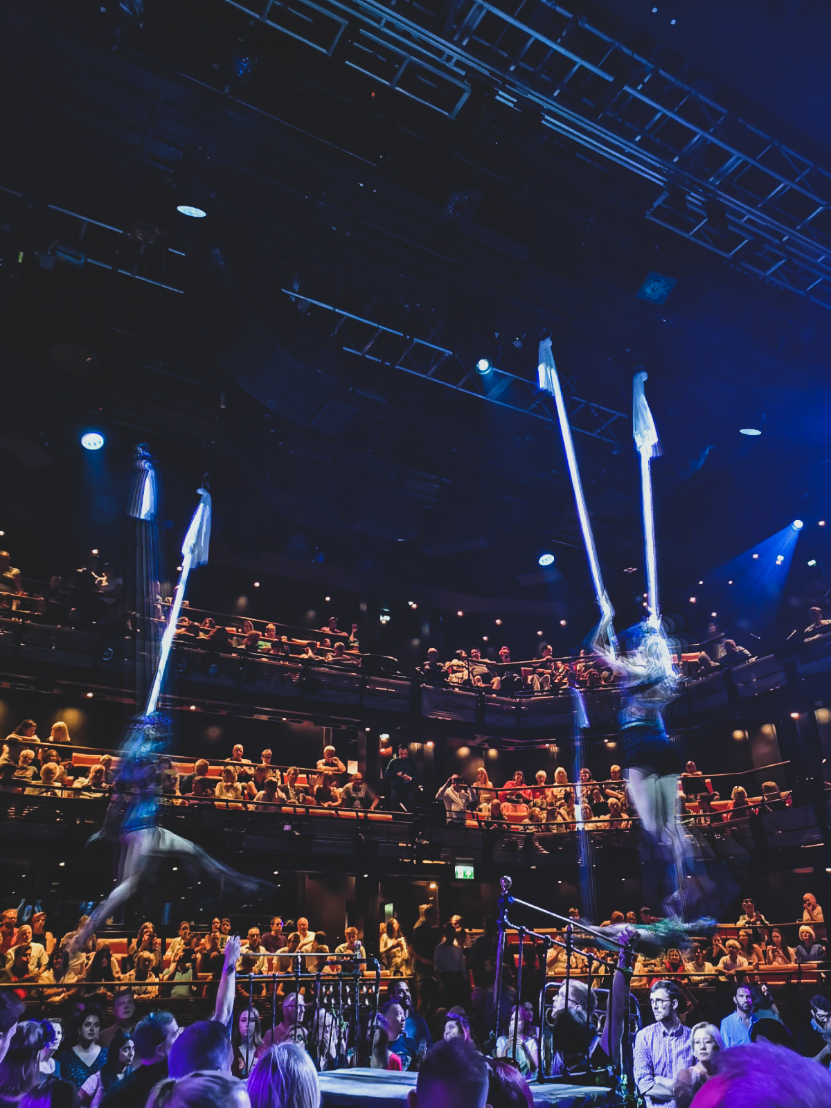 aerialists performing at bridge theatre a midsummer nights dream