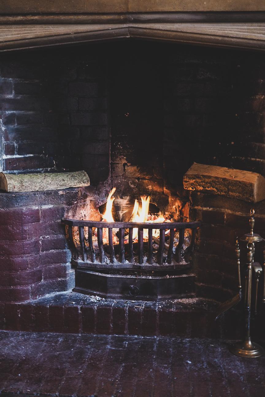burning log fire