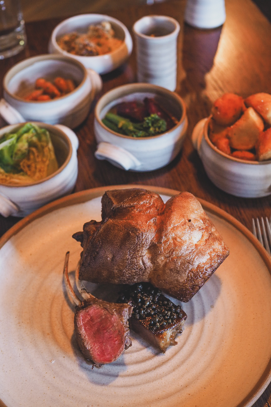 lamb roast dinner with yorkshire pudding