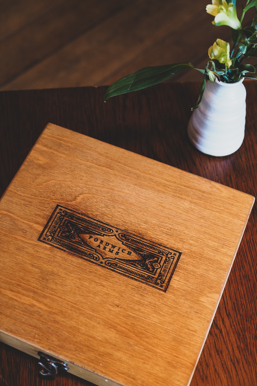 wooden box with heat engraved fordwich arms logo
