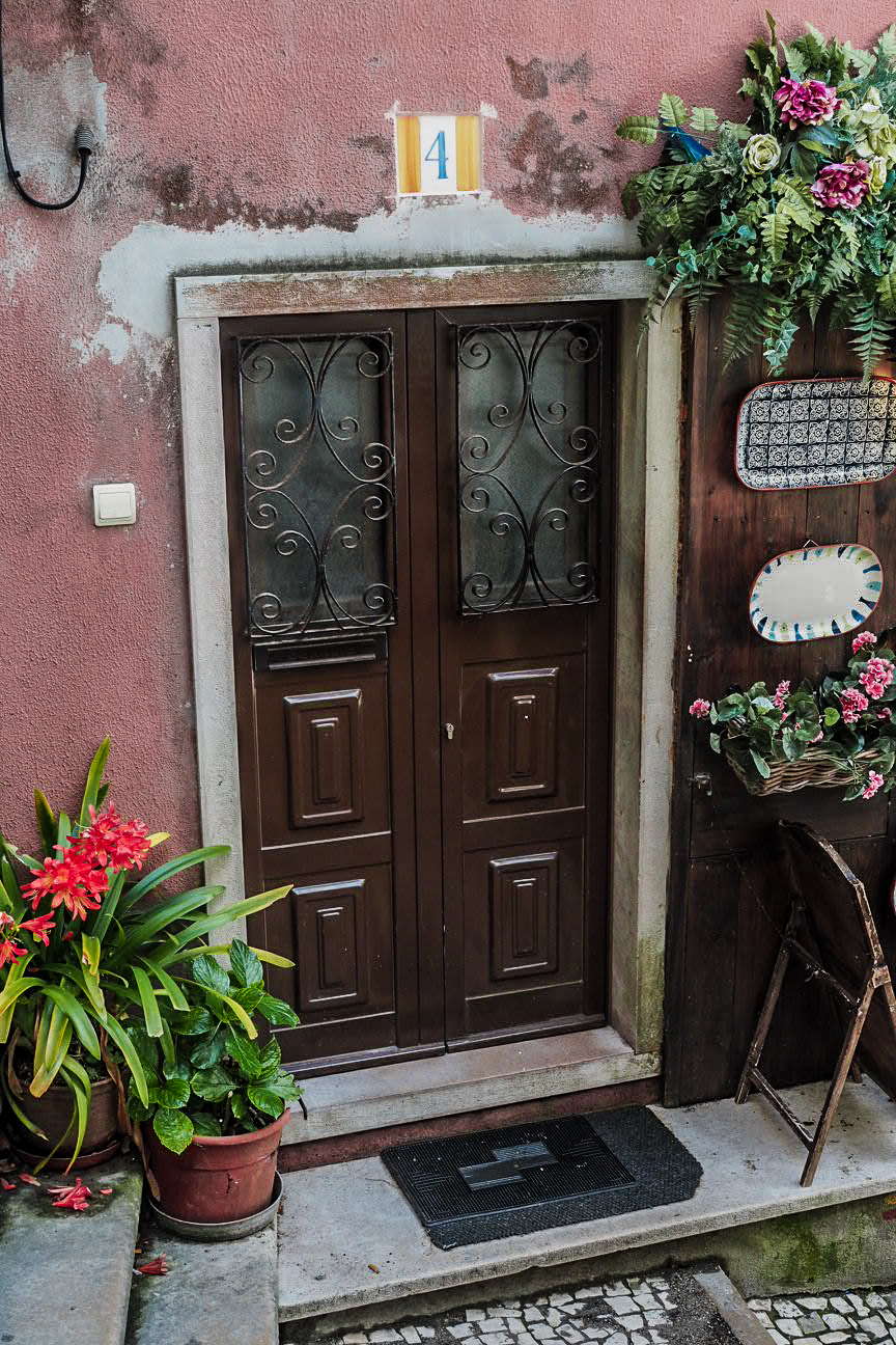 colourful doorway with flowers