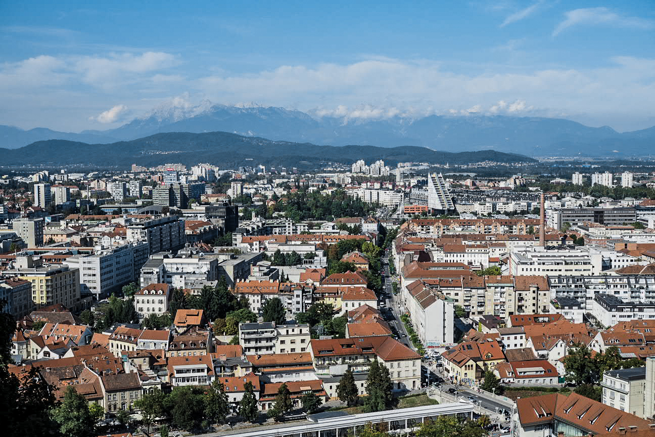 view of mountains from ljubljana castle