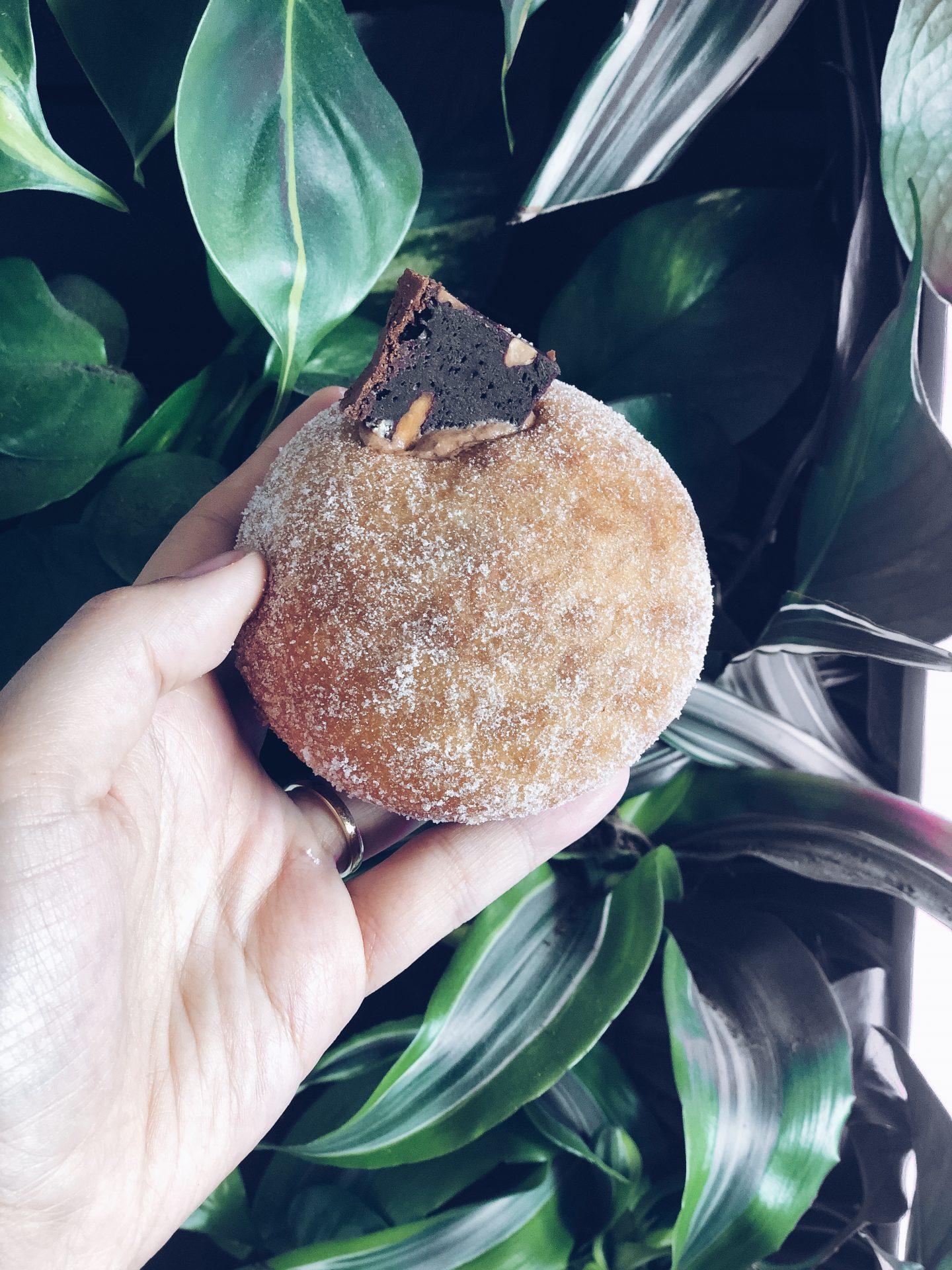 chocolate pecan brownie sourdoughnut from pinkman's bakery in bristol