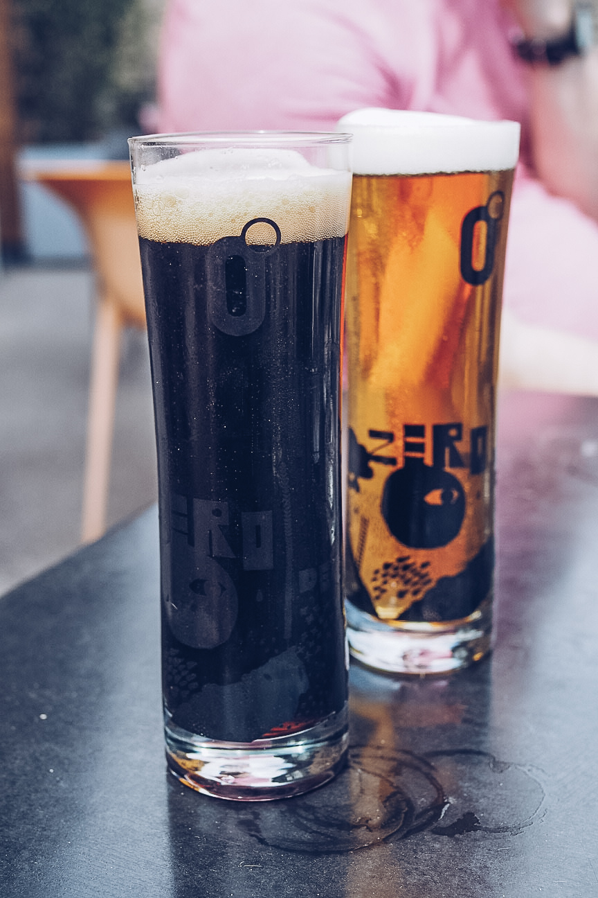 two half pints of craft beer from zerodegrees