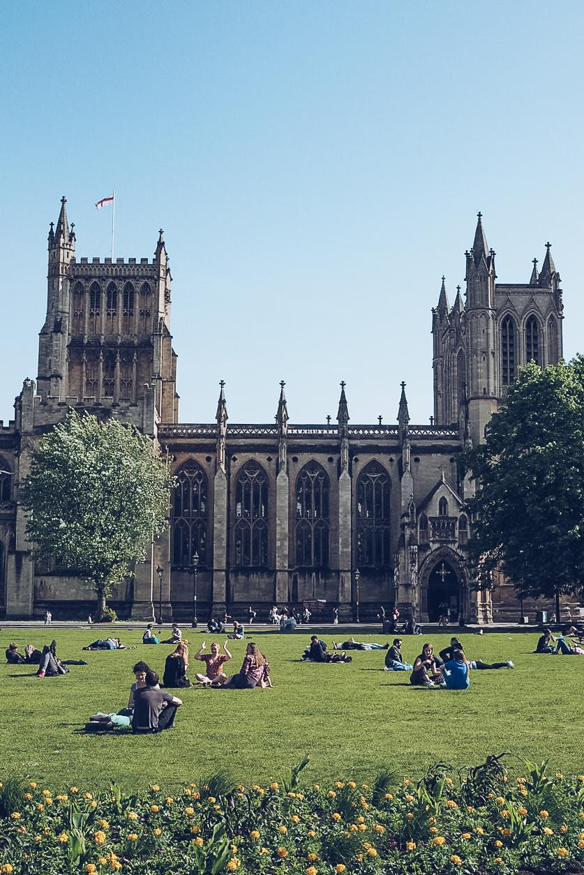 bristol cathedral in sunshine