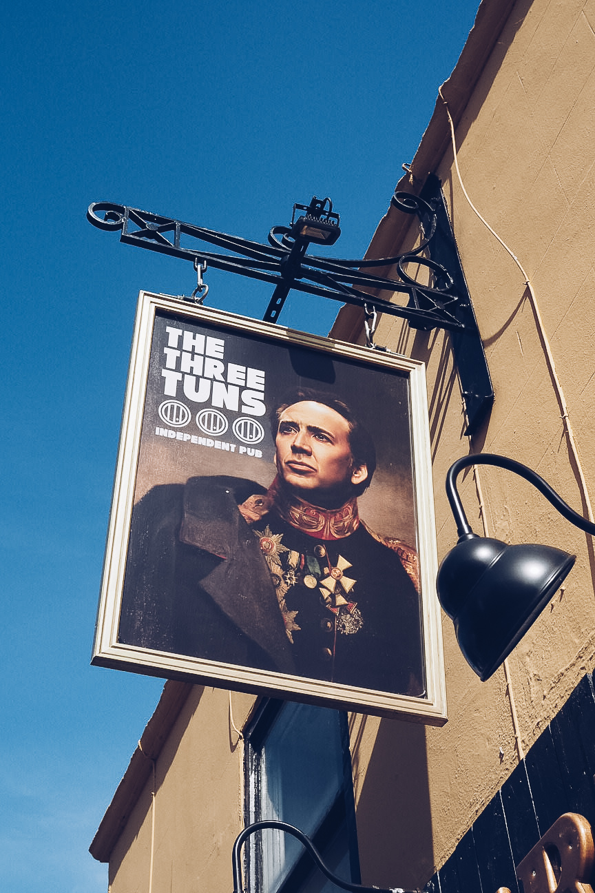 nicholas cage pub sign at the three tuns pub