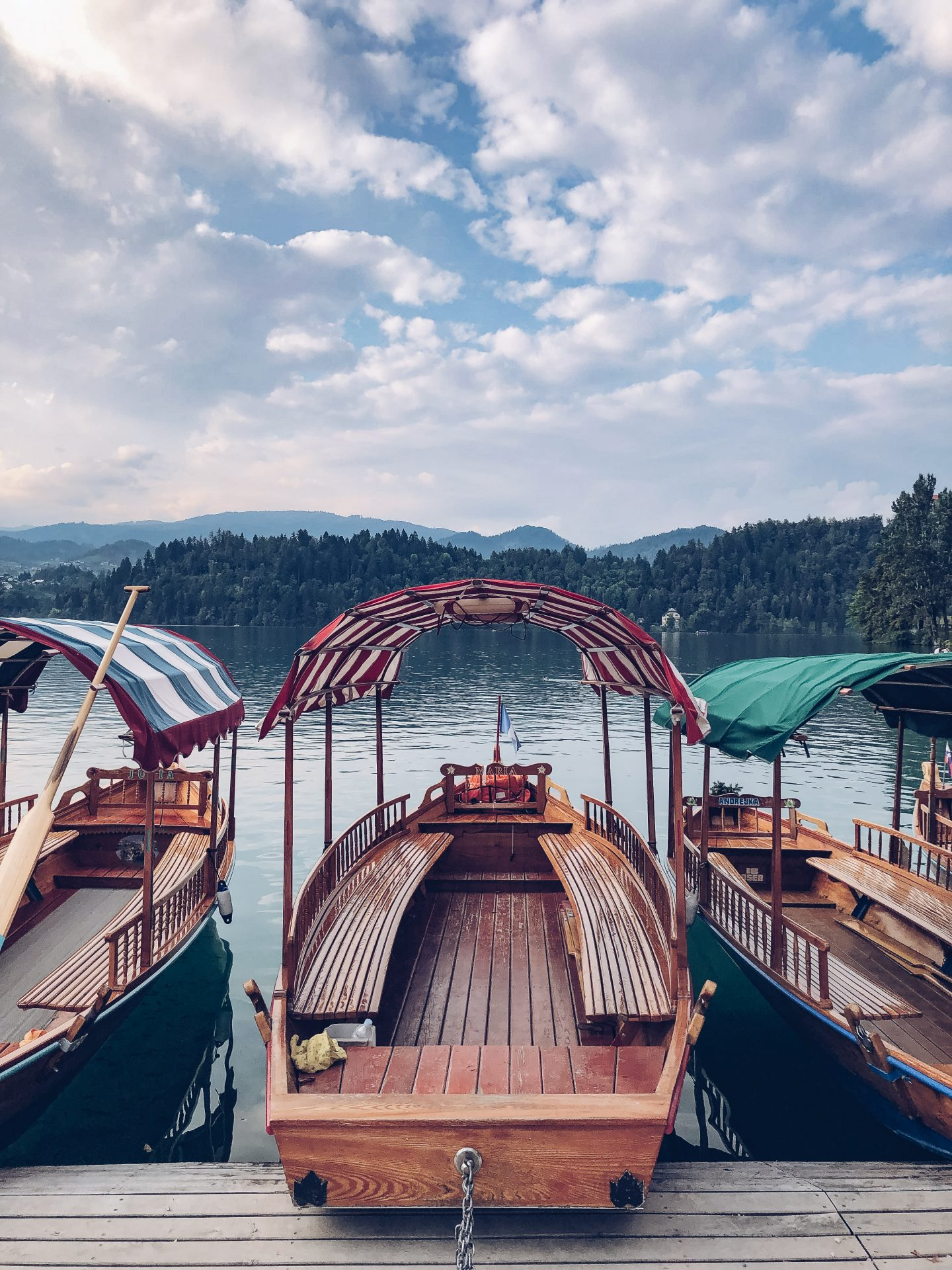 pletna boats on lake bled