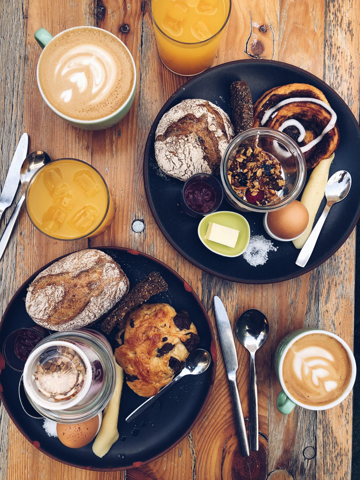 breakfast flatlay with pastries, bread and granola