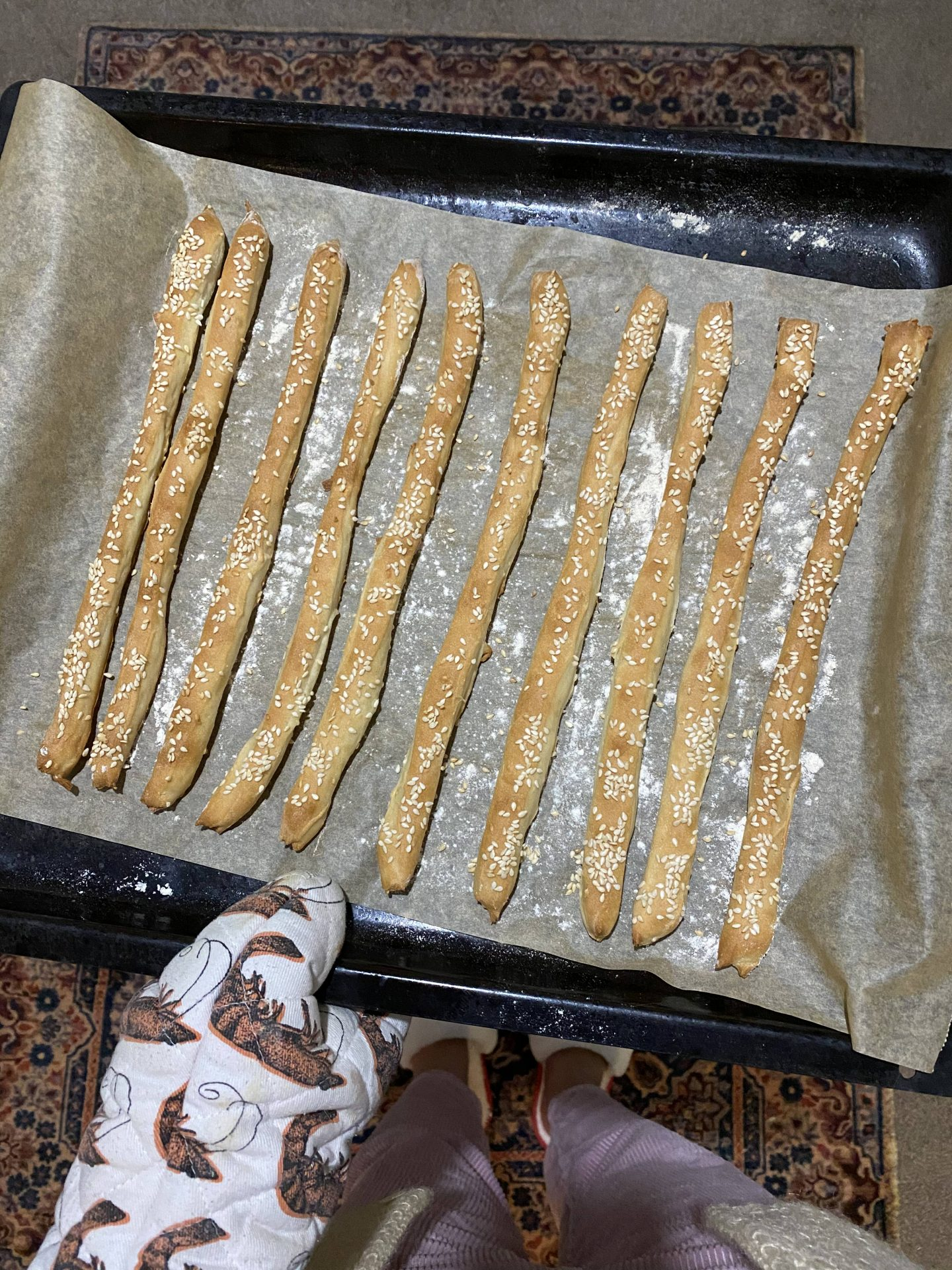 homemade breadsticks on a baking tray